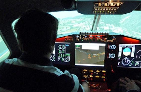 Alpenrundflug im Simulator