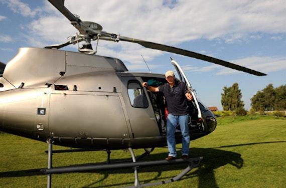 Hubschrauber fliegen mit Promi